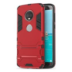 Armor Premium Tactical Grip Kickstand Shockproof Dual Layer Rugged Hard Cover for Motorola Moto G6 Plus G6Plus - Wine Red