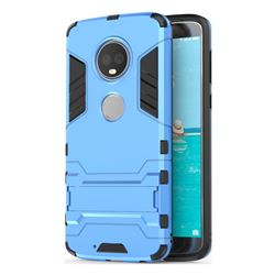 Armor Premium Tactical Grip Kickstand Shockproof Dual Layer Rugged Hard Cover for Motorola Moto G6 Plus G6Plus - Light Blue