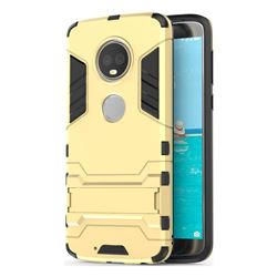 Armor Premium Tactical Grip Kickstand Shockproof Dual Layer Rugged Hard Cover for Motorola Moto G6 Plus G6Plus - Golden
