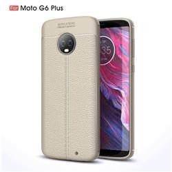Luxury Auto Focus Litchi Texture Silicone TPU Back Cover for Motorola Moto G6 Plus G6Plus - Gray
