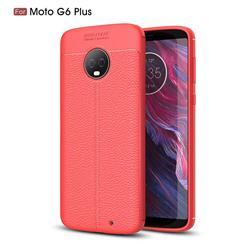 Luxury Auto Focus Litchi Texture Silicone TPU Back Cover for Motorola Moto G6 Plus G6Plus - Red