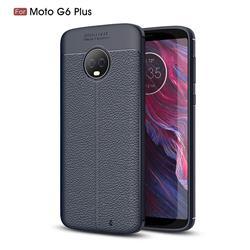 Luxury Auto Focus Litchi Texture Silicone TPU Back Cover for Motorola Moto G6 Plus G6Plus - Dark Blue