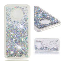 Dynamic Liquid Glitter Quicksand Sequins TPU Phone Case for Motorola Moto G6 Plus G6Plus - Silver