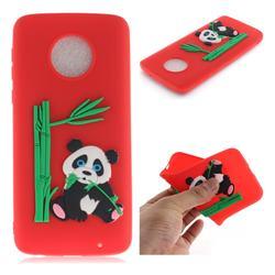 Panda Eating Bamboo Soft 3D Silicone Case for Motorola Moto G6 Plus G6Plus - Red