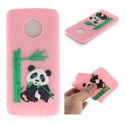 Panda Eating Bamboo Soft 3D Silicone Case for Motorola Moto G6 Plus G6Plus - Pink