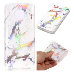 White Marble Pattern Bright Color Laser Soft TPU Case for Motorola Moto G6 Plus G6Plus