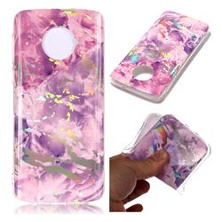 Purple Marble Pattern Bright Color Laser Soft TPU Case for Motorola Moto G6 Plus G6Plus