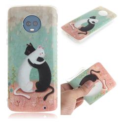 Black and White Cat IMD Soft TPU Cell Phone Back Cover for Motorola Moto G6 Plus G6Plus