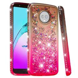 Diamond Frame Liquid Glitter Quicksand Sequins Phone Case for Motorola Moto G6 Plus G6Plus - Gray Pink