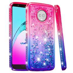 Diamond Frame Liquid Glitter Quicksand Sequins Phone Case for Motorola Moto G6 Plus G6Plus - Pink Blue