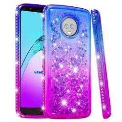 Diamond Frame Liquid Glitter Quicksand Sequins Phone Case for Motorola Moto G6 Plus G6Plus - Blue Purple