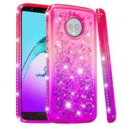 Diamond Frame Liquid Glitter Quicksand Sequins Phone Case for Motorola Moto G6 Plus G6Plus - Pink Purple