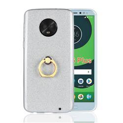 Luxury Soft TPU Glitter Back Ring Cover with 360 Rotate Finger Holder Buckle for Motorola Moto G6 Plus G6Plus - White