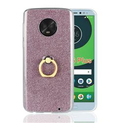 Luxury Soft TPU Glitter Back Ring Cover with 360 Rotate Finger Holder Buckle for Motorola Moto G6 Plus G6Plus - Pink
