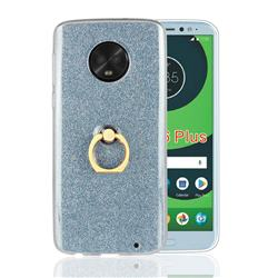 Luxury Soft TPU Glitter Back Ring Cover with 360 Rotate Finger Holder Buckle for Motorola Moto G6 Plus G6Plus - Blue