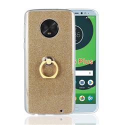 Luxury Soft TPU Glitter Back Ring Cover with 360 Rotate Finger Holder Buckle for Motorola Moto G6 Plus G6Plus - Golden