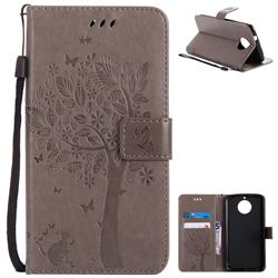 Embossing Butterfly Tree Leather Wallet Case for Motorola Moto G6 Plus G6Plus - Grey