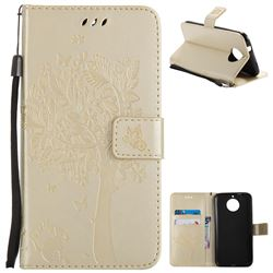 Embossing Butterfly Tree Leather Wallet Case for Motorola Moto G6 Plus G6Plus - Champagne