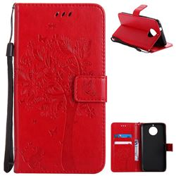 Embossing Butterfly Tree Leather Wallet Case for Motorola Moto G6 Plus G6Plus - Red