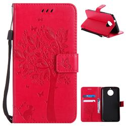 Embossing Butterfly Tree Leather Wallet Case for Motorola Moto G6 Plus G6Plus - Rose