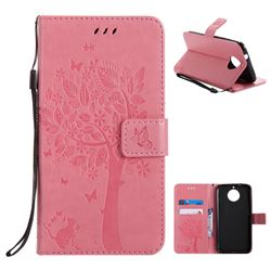 Embossing Butterfly Tree Leather Wallet Case for Motorola Moto G6 Plus G6Plus - Pink