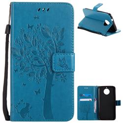 Embossing Butterfly Tree Leather Wallet Case for Motorola Moto G6 Plus G6Plus - Blue