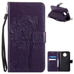 Embossing Butterfly Tree Leather Wallet Case for Motorola Moto G6 Plus G6Plus - Purple