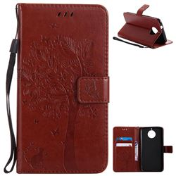 Embossing Butterfly Tree Leather Wallet Case for Motorola Moto G6 Plus G6Plus - Brown