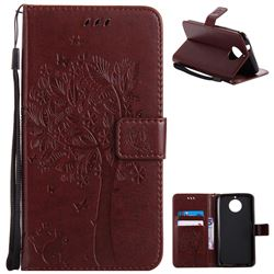 Embossing Butterfly Tree Leather Wallet Case for Motorola Moto G6 Plus G6Plus - Coffee