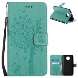 Embossing Butterfly Tree Leather Wallet Case for Motorola Moto G6 Plus G6Plus - Cyan