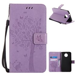 Embossing Butterfly Tree Leather Wallet Case for Motorola Moto G6 Plus G6Plus - Violet