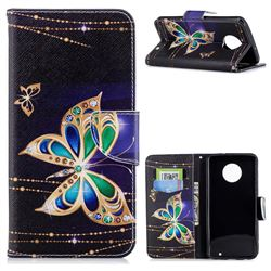 Golden Shining Butterfly Leather Wallet Case for Motorola Moto G6 Plus G6Plus