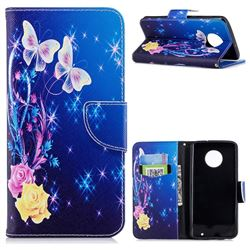 Yellow Flower Butterfly Leather Wallet Case for Motorola Moto G6 Plus G6Plus