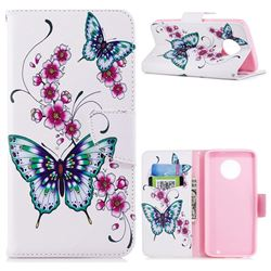 Peach Butterfly Leather Wallet Case for Motorola Moto G6 Plus G6Plus