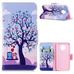 Tree and Owls Leather Wallet Case for Motorola Moto G6 Plus G6Plus