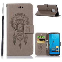 Intricate Embossing Owl Campanula Leather Wallet Case for Motorola Moto G6 Plus G6Plus - Grey