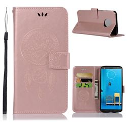 Intricate Embossing Owl Campanula Leather Wallet Case for Motorola Moto G6 Plus G6Plus - Rose Gold
