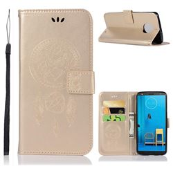 Intricate Embossing Owl Campanula Leather Wallet Case for Motorola Moto G6 Plus G6Plus - Champagne