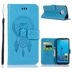 Intricate Embossing Owl Campanula Leather Wallet Case for Motorola Moto G6 Plus G6Plus - Blue