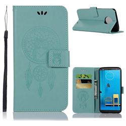Intricate Embossing Owl Campanula Leather Wallet Case for Motorola Moto G6 Plus G6Plus - Green