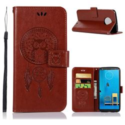 Intricate Embossing Owl Campanula Leather Wallet Case for Motorola Moto G6 Plus G6Plus - Brown