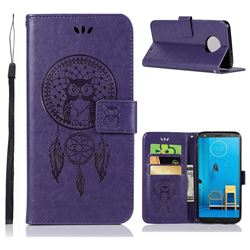Intricate Embossing Owl Campanula Leather Wallet Case for Motorola Moto G6 Plus G6Plus - Purple