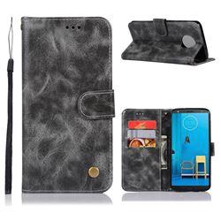 Luxury Retro Leather Wallet Case for Motorola Moto G6 Plus G6Plus - Gray