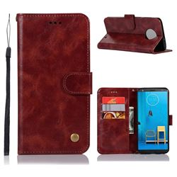 Luxury Retro Leather Wallet Case for Motorola Moto G6 Plus G6Plus - Wine Red