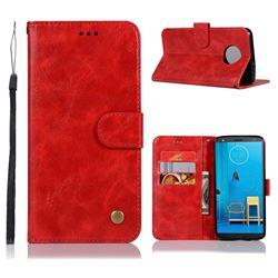 Luxury Retro Leather Wallet Case for Motorola Moto G6 Plus G6Plus - Red