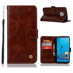 Luxury Retro Leather Wallet Case for Motorola Moto G6 Plus G6Plus - Brown