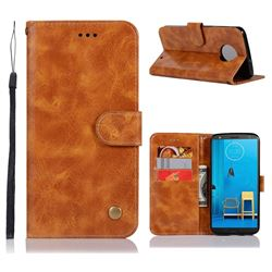 Luxury Retro Leather Wallet Case for Motorola Moto G6 Plus G6Plus - Golden
