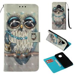Sweet Gray Owl 3D Painted Leather Wallet Case for Motorola Moto G6 Plus G6Plus