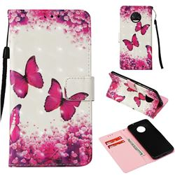 Rose Butterfly 3D Painted Leather Wallet Case for Motorola Moto G6 Plus G6Plus