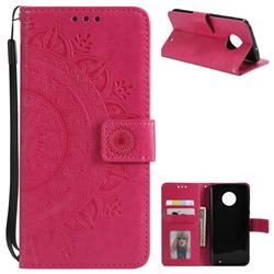 Intricate Embossing Datura Leather Wallet Case for Motorola Moto G6 Plus G6Plus - Rose Red